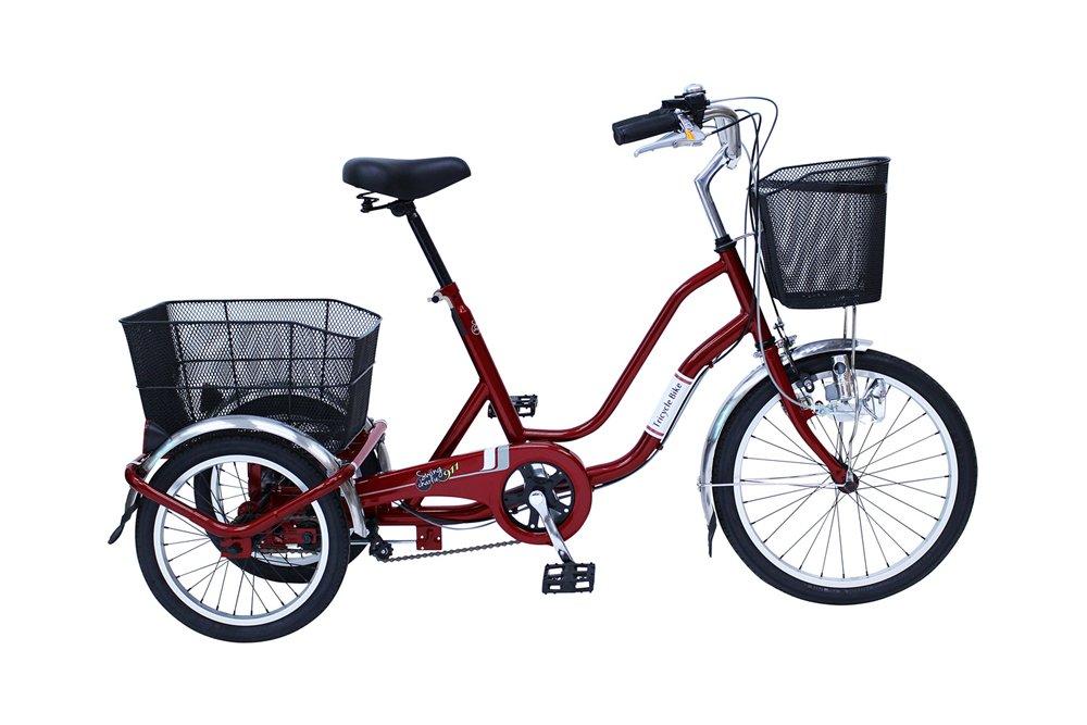 スイング機能付 20/16インチ 三輪自転車 (ノーパンクタイヤ) ワインレッド カゴライト前輪錠付き B07D7KVRP8