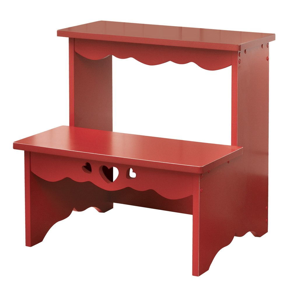 Collections Etc Country Red Wooden Step Stool, Red