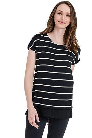 bd865a0b7f6e4 Hello MIZ Women's Maternity Nursing Tunic Top (Black St/Black Short, ...