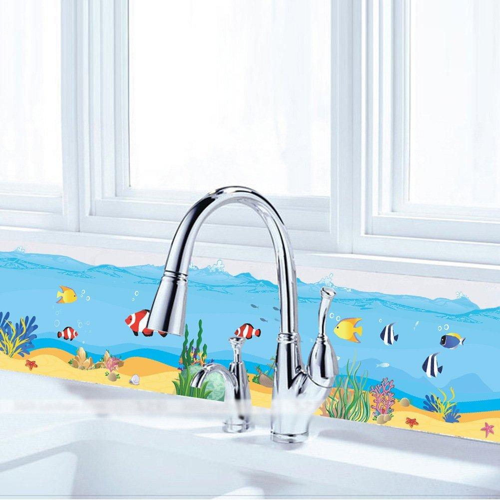 Winhappyhome pesci alghe marine Underwater Baseboard per bagno-Adesivi per cameretta dei bambini con fondo rimovibile per cameretta, motivo: adesivi