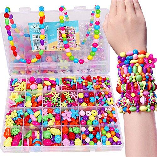 FADUOALI 650 pcs Different Types and Shapes Colorful Acrylic Beads,DIY Beads Set Necklace Bracelet Jewelry Making Crafts Kits/Children Craft DIY Necklace Bracelets. ()