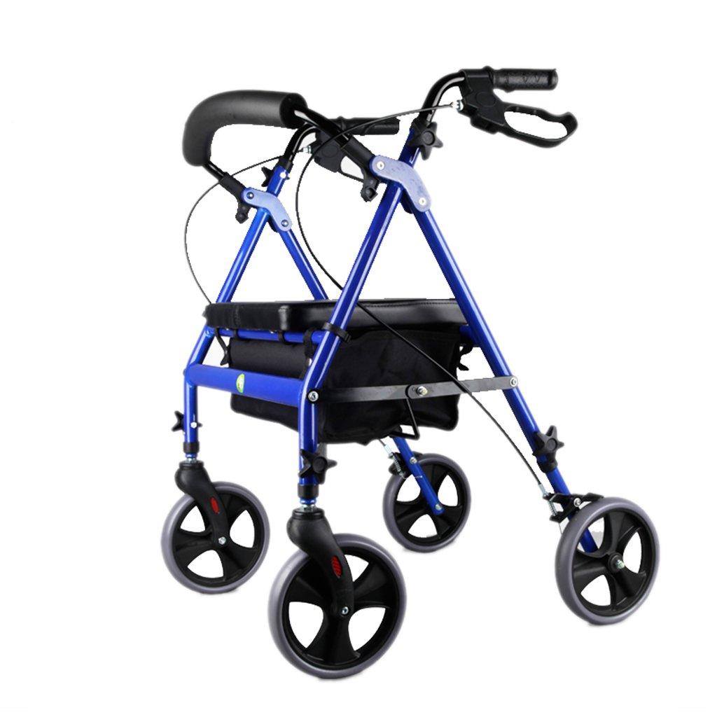 家庭用ポータブル高齢者カート多機能ウォーカー折り畳み式調節可能なスクーター、青 B07FM2F6ZN