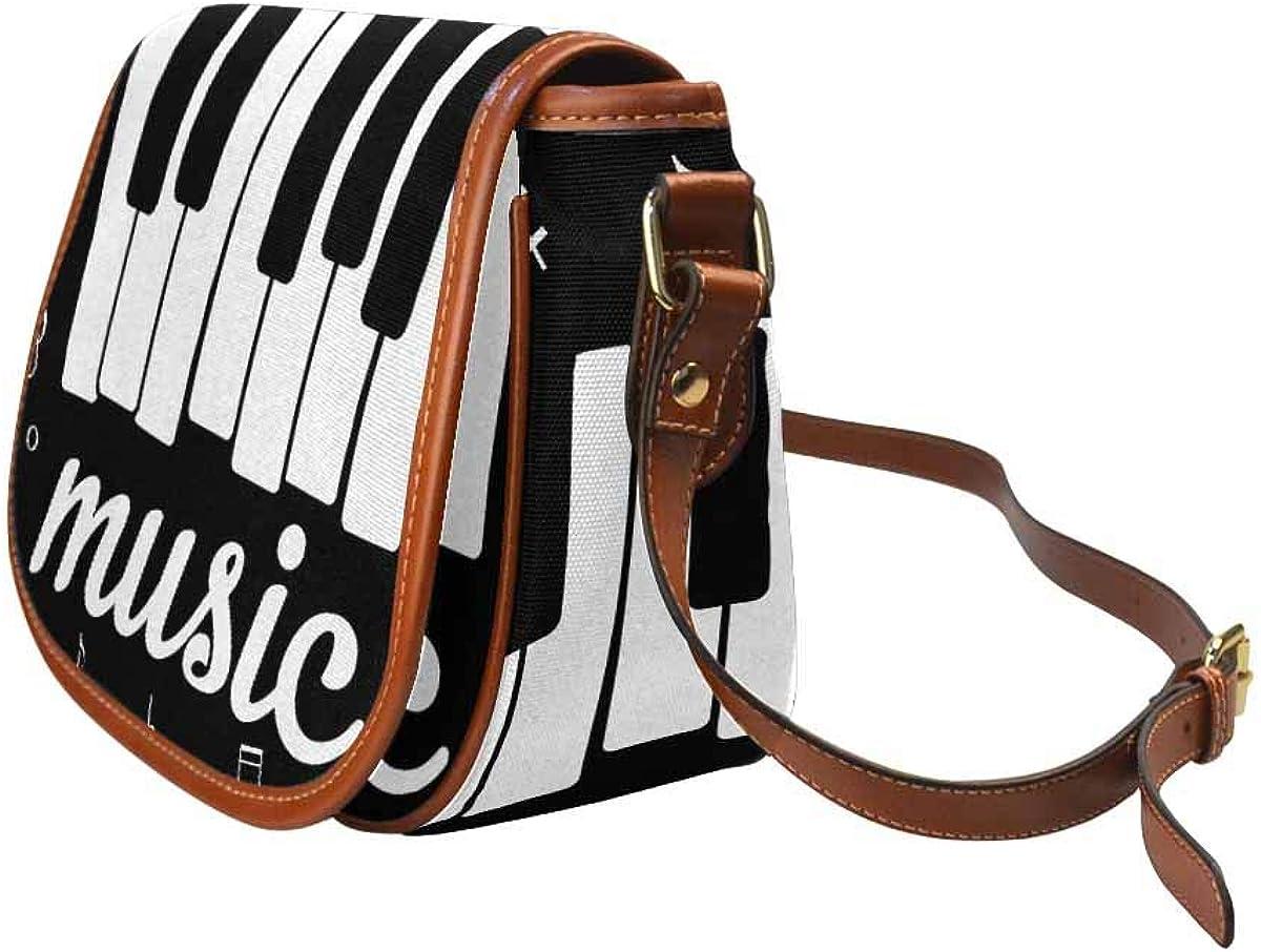 Work Business InterestPrint Music Pattern Black White Saddle Bag Satchel Crossbody for Travel