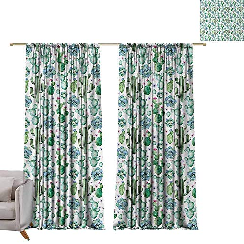 DUCKIL Printed Curtain Cactus Hand Painted Style Exotic Plant Collection Saguaro Prickly Pear Succulents Spikes Decor Curtains by W108 xL96 Multicolor