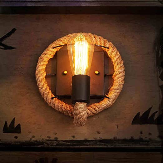 uk availability 42802 5c561 Vintage Hemp Rope Wall Lights Loft Creative Personality Industrial Lamp  European Style For Living Room Decoration Wall Lamp