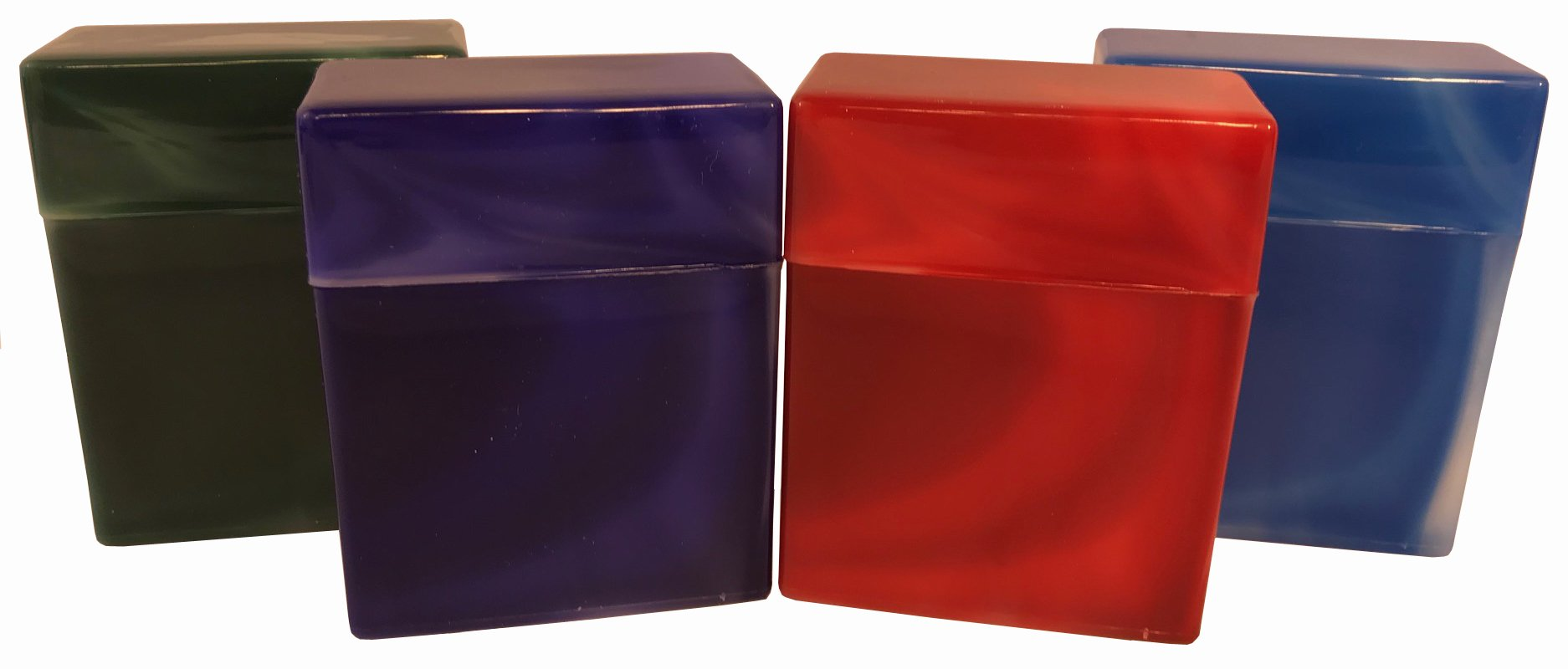 4 Pack King Size Crush-Proof Plastic Flip Open Case Holds 30 Cigarettes