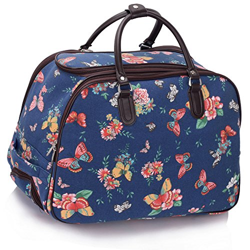 D Bag Butterfly Luggage Size With blue BLUE LeahWard® Wheel BUTTERFLY Travel L Large Holdall w4xqXP