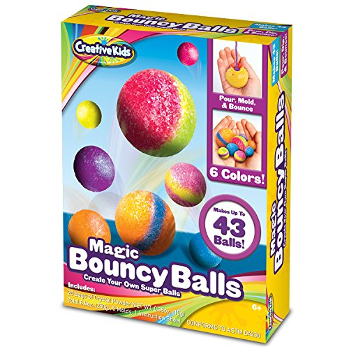 Creative Kids DIY Magic Bouncy Balls - Create Your Own Crystal Power Balls Craft Kit for Kids - Includes 25 Bags of Multicolored Crystal Powder & 5 Molds - Makes -