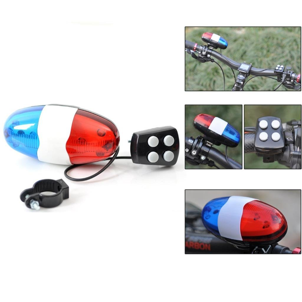 TIREOW Bicycle Police Car 6 LED Light 4 Sounds Trumpet Cycling Electric Horn Siren Bell
