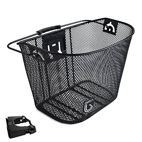 Bracket Basket Wire (Biria bicycle Basket with Bracket Black - Front Quick Release Basket, Removable, Wire Mesh Bicycle basket Express Klick, Black)