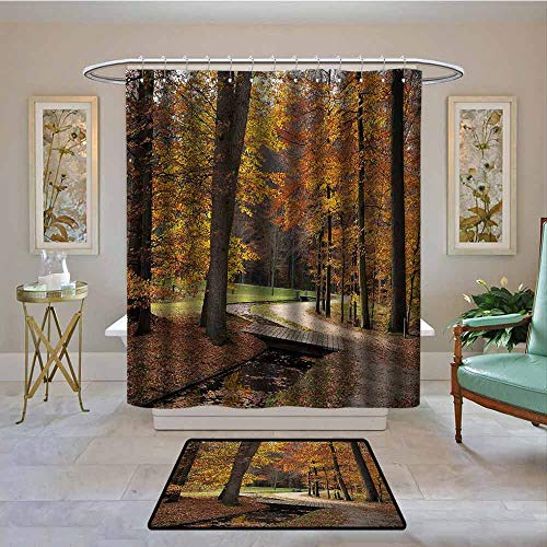 Kenneth Camilla01 Polyester Shower Curtain, Autumn,Rainy Gloomy Day Forest Path with Leafless Trees Art Photograph,Marigold Amber and Seal Brown,Shower Curtains Set with 12 Hooks 108