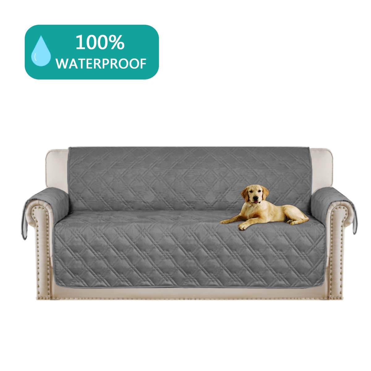 Turquoize 100% Waterproof Dog Couch Cover Quilted Sofa Slipcover Pet Couch Cover for Pets and Kids Furniture Protector with Back Nonslip Paws Machine Washable(Sofa 75x112) Grey