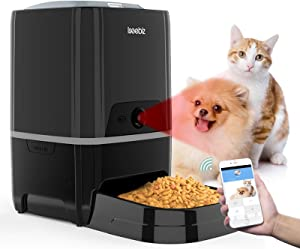 Smart Pet Feeder with Camera, Automatic Cat Feeder APP Remote Control Feeding, Dog Food Dispenser with Features Live Video Audio Communication, Timer Programmable Portion Control, Up to 6 Meals a Day
