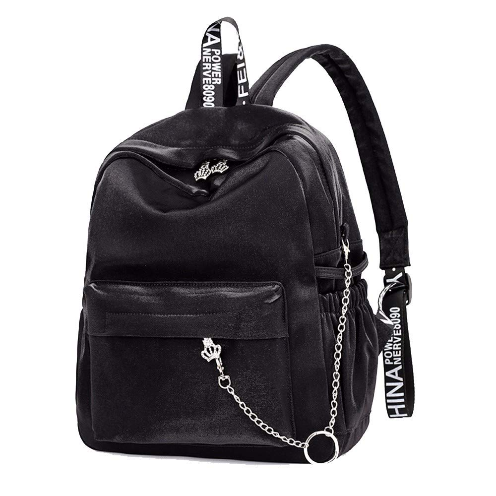 Black Student bag, college wind headphone hole print backpack,Pink