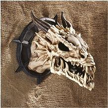 Design Toscano Horned Dragon Skull Trophy Gothic Decor Wall Sculpture, 10 Inch, Polyresin, Faux Bone