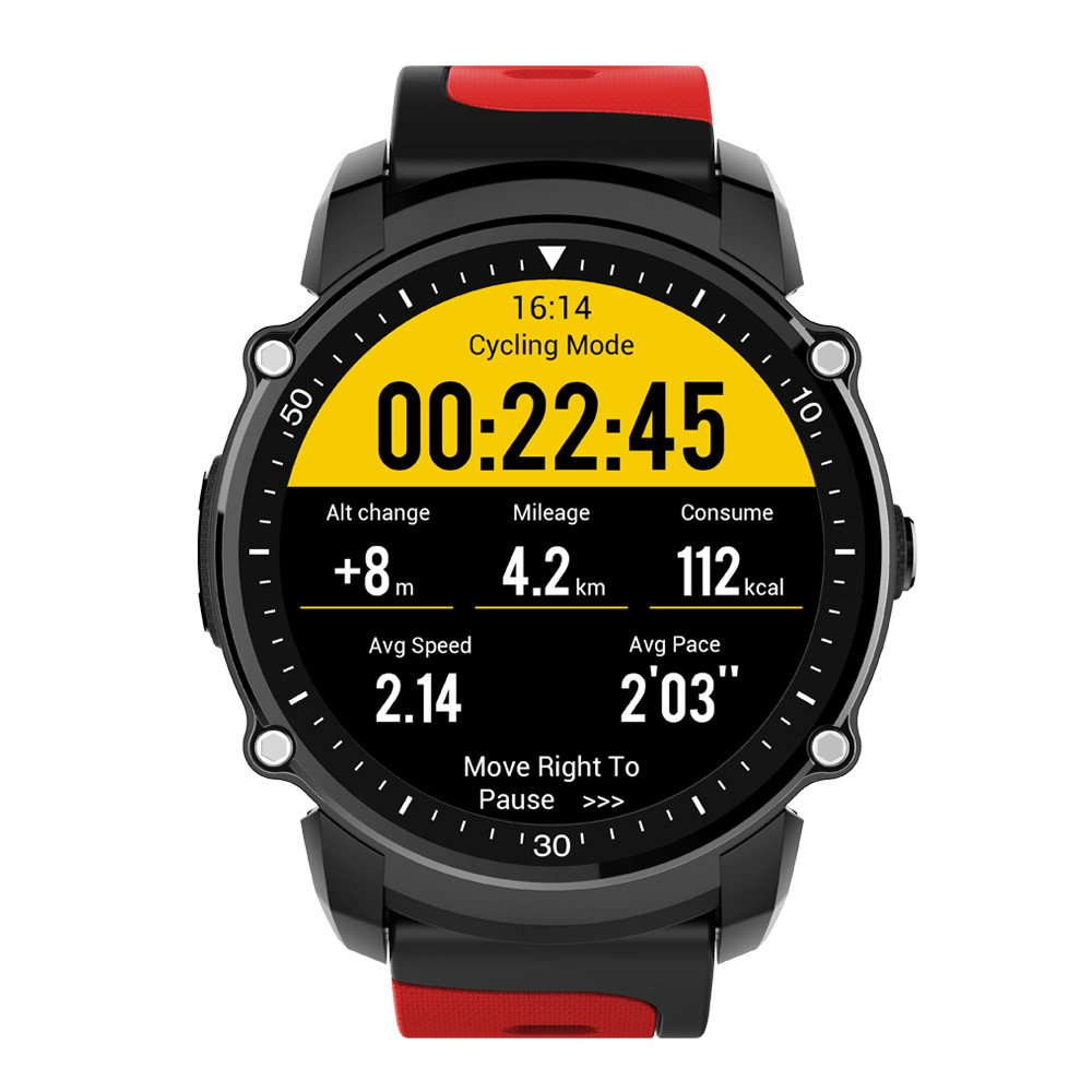 DSMART SP5 Professional Sports Smartwatch with GPS / Heart Rate Monitor / Compass / Barometer / Altimeter / IP68 Waterproof for Hiking, Running, Swimming (Red)