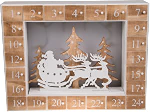 "Santa's Christmas Sleigh and Reindeer 24 Day Wooden Advent Calendar | LED Lit Night Before Christmas Diorama | Premium Holiday Decor Wooden Construction | Measures 13.75"" x 10.5"" 
