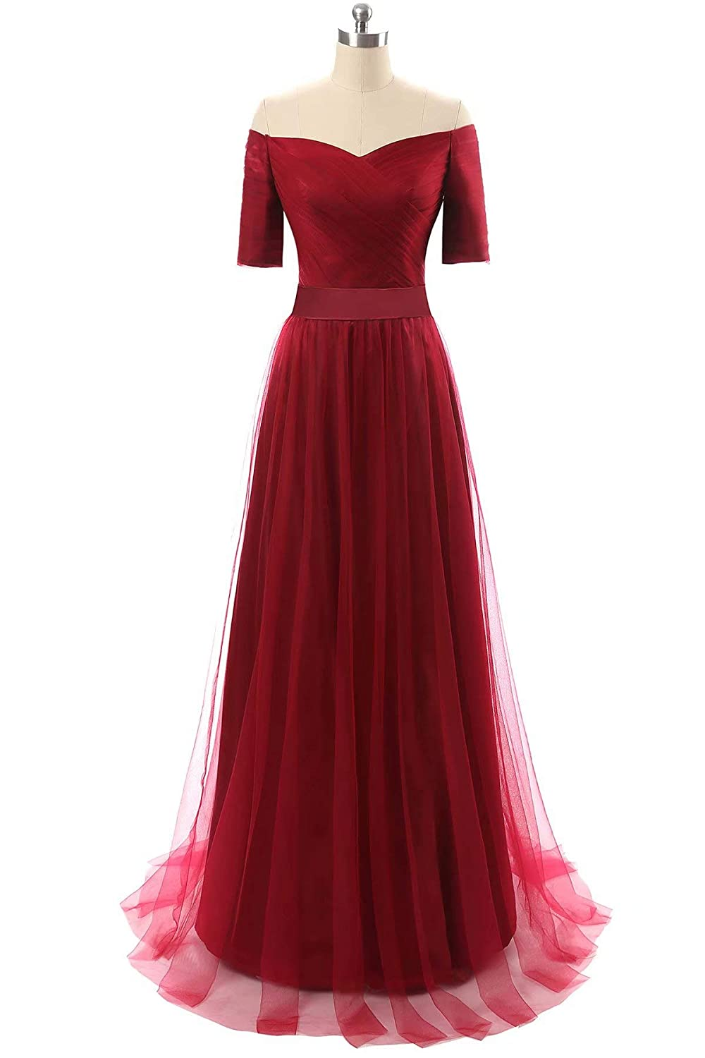 Red Honeywedding Half Sleeves V Neck Formal Evening Dresses Long Tulle Party Prom Gown