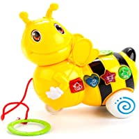 Pinnappo Pull Along Bee Lights and Musical Toy Cart with Rotating Head Toys for Kids