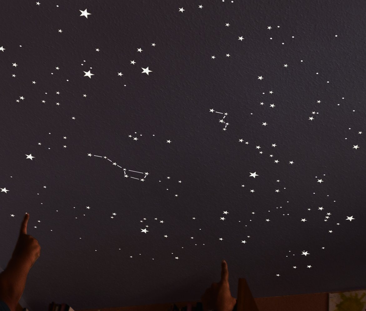 Kit of 270 fluorescent STARS + STENCIL of 2 m². EXACT REPRODUCTION OF THE SKY +2 MAPs with indications. Astronomy on ceiling or wall. Phosphorescent stickers. Glow in the dark stars by Encambio Alcrea (Image #7)