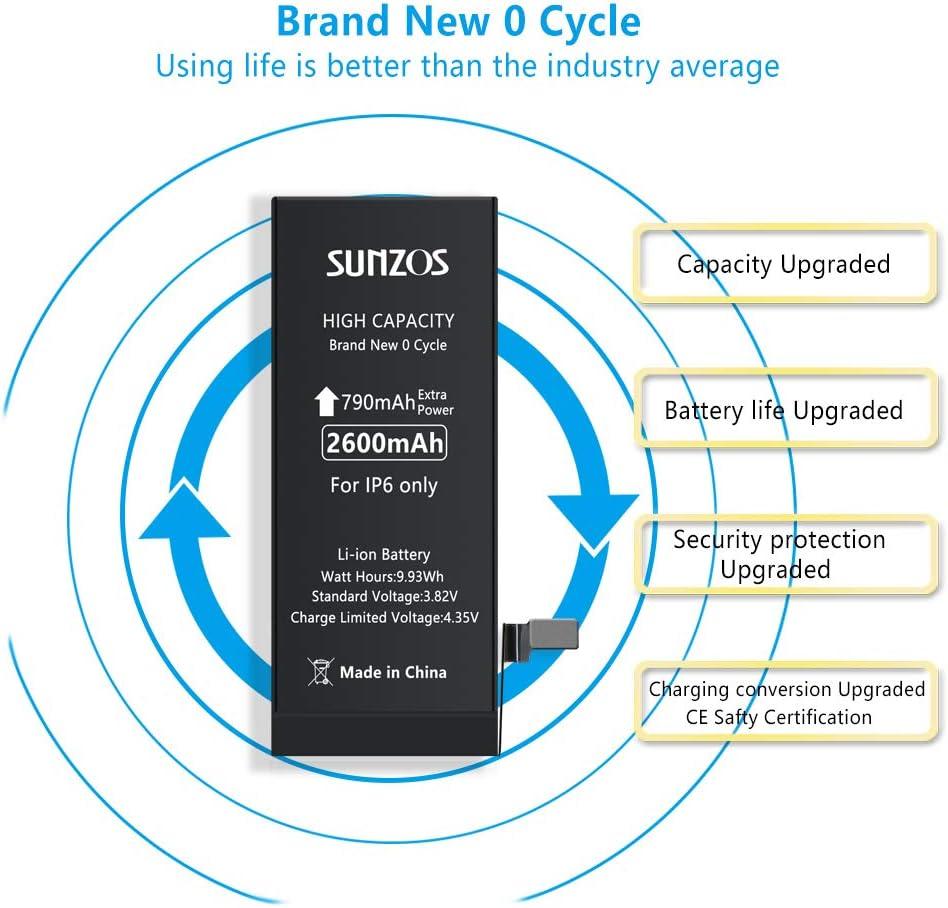 gaixample.org Battery for iPhone 6 2600mah 3.82V High Capacity ...