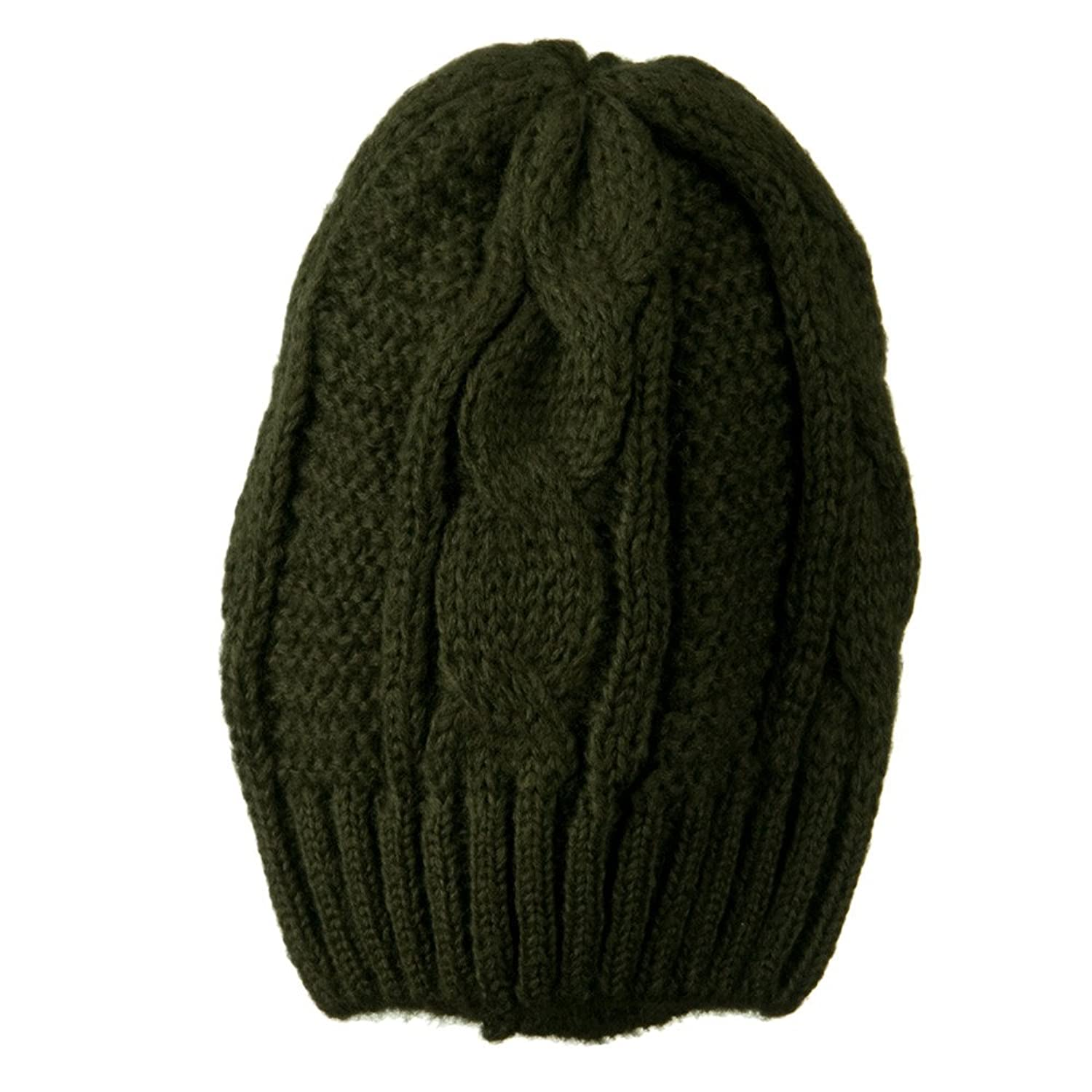 Big Skullie Cable Beanie - Olive W16S38F