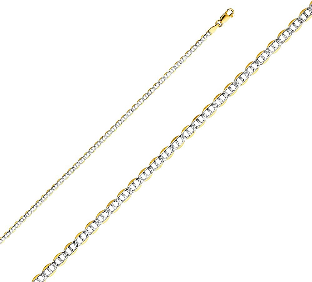 Sonia Jewels 14k Yellow Gold Flat Mariner Lobster Claw Clasp White Pave Chain Necklace