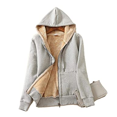 ac0c0d19 Manyysi Women Casual Winter Warm Sherpa Lined Zip Hoodie Sweatshirt Jacket  Coat (Light Grey,