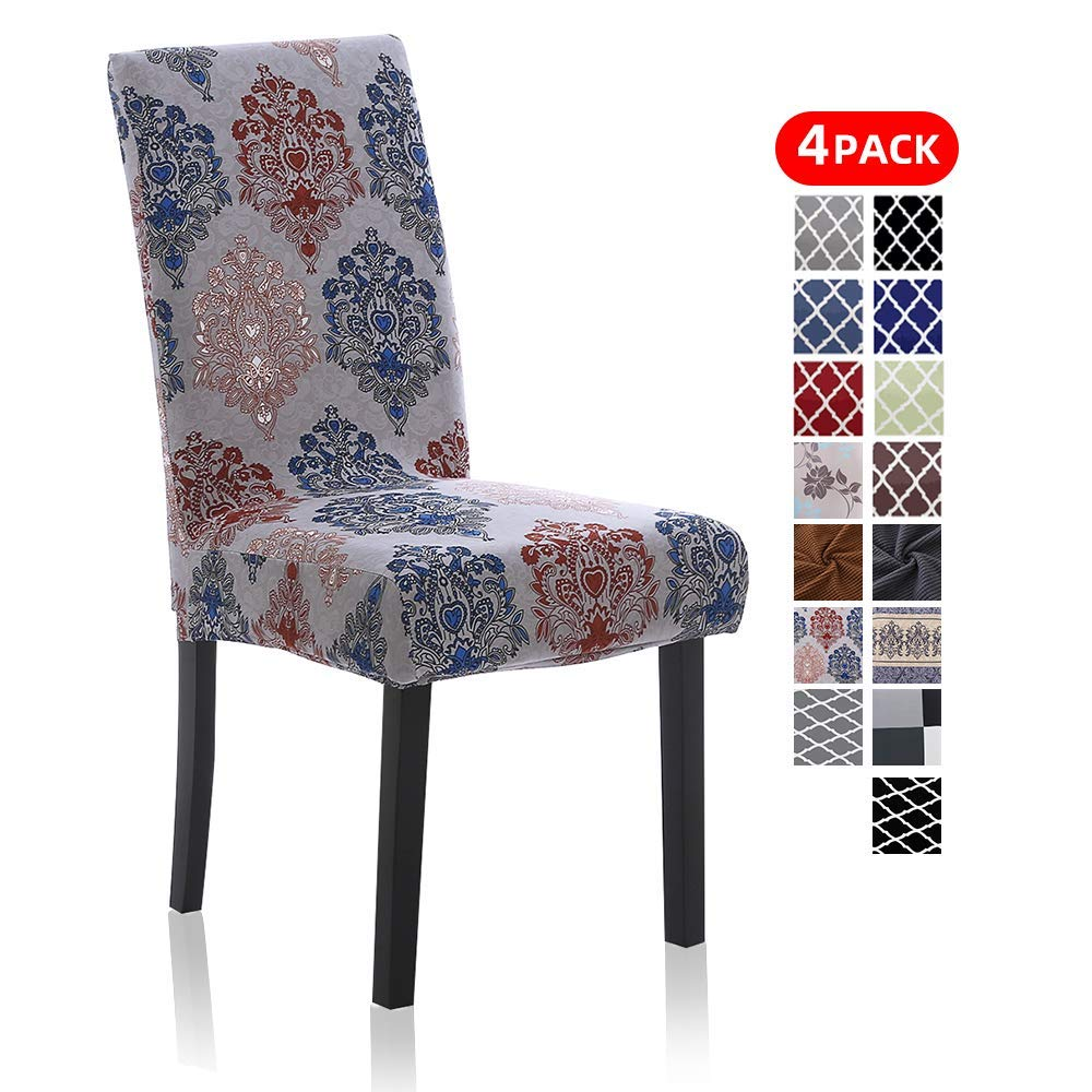 Stretch Dining Chair Covers, Printed Dining Chair Slipcovers, Removable Washable Spandex Furniture Seat Protector for Kitchen Hotel Table Banquet (4 Per Set, England)