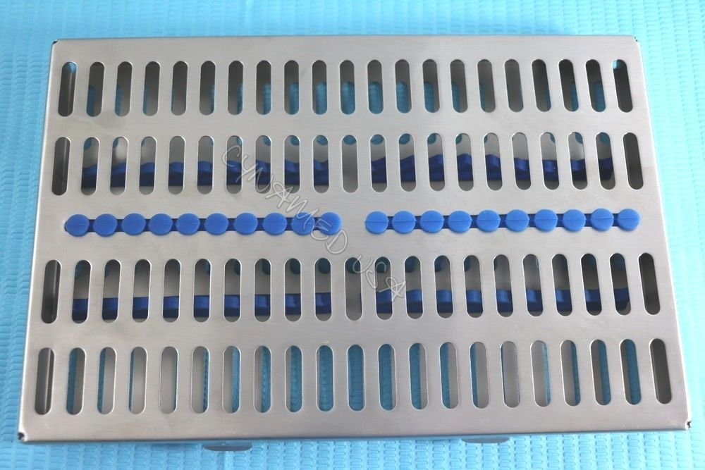 5 Heavy Duty German Dental Autoclave Sterilization Cassette Rack Box Tray for 20 Instrument Blue CYNAMED by CYNAMED (Image #7)