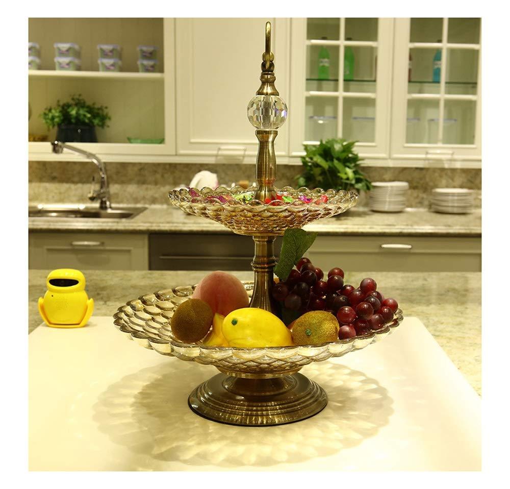 PANGU-ZC 二層ビーズフルーツプレートクリエイティブデコレーション家庭用品日常用品装飾用品フルーツプレート   B07PKDQQB4