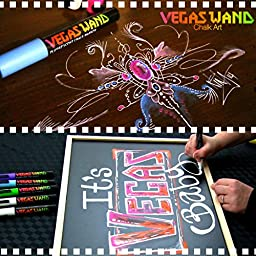 Chalk Markers by Vegas Wand with 8 Neon Wands and 2 Ink Erasers