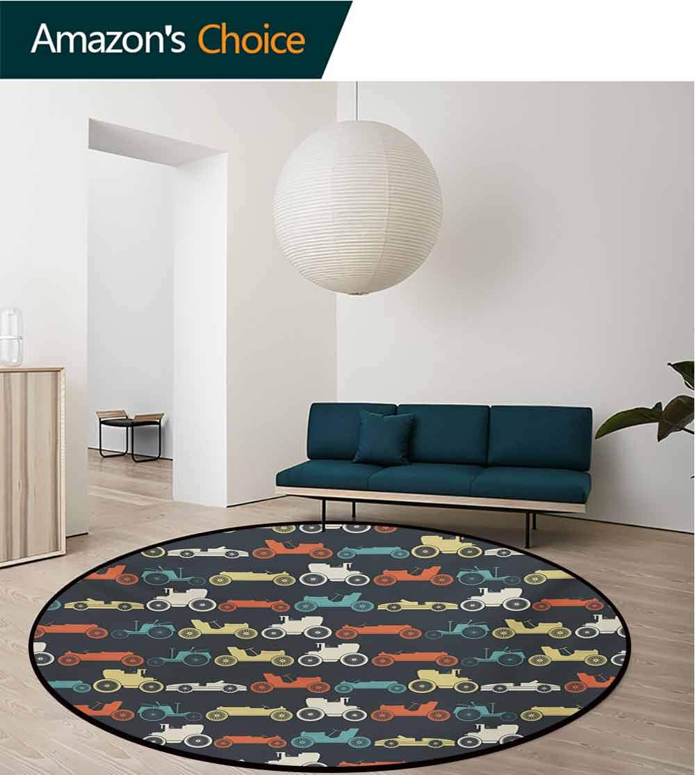 Cars Modern Machine Washable Round Bath Mat,Vintage Cars in Pattern Vehicles from Twenties Automobile Non-Slip Living Room Soft Floor Mat,Diameter-71 Inch Orange Pale Yellow Teal