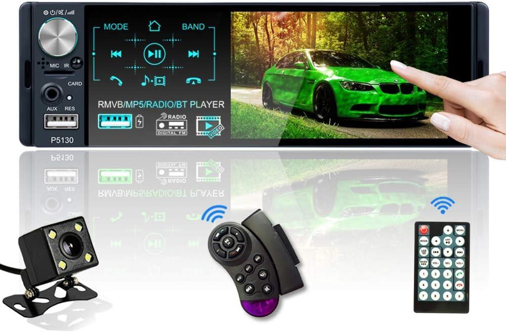 Radio del Coche 1 DIN 4.1 Pulgadas Pantalla Táctil Autoradio Bluetooth Llamadas Manos Libres MP5 FM/AM/RDS Reproductor, 2 USB con Cámara de Visión Tras, Control del Volante, Control Remoto inalámbrico