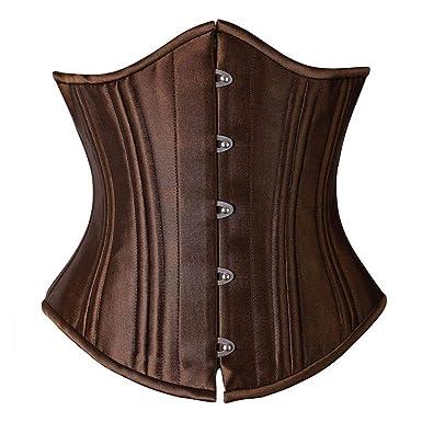 2c4e9cb59d HITSAN FeelinGirl Steampunk Brown Waist Trainer Corsets 26 Double Steel  Bone Corset Heavy Duty Waist Belt Shaper -B Color 4665 Size S  Amazon.in   Clothing   ...