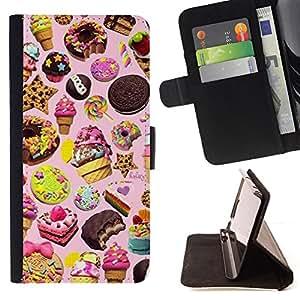 BullDog Case - FOR/Samsung Galaxy S4 Mini i9190 / - / sweets cake ice cream cookie pink /- Monedero de cuero de la PU Llevar cubierta de la caja con el ID Credit Card Slots Flip funda de cuer