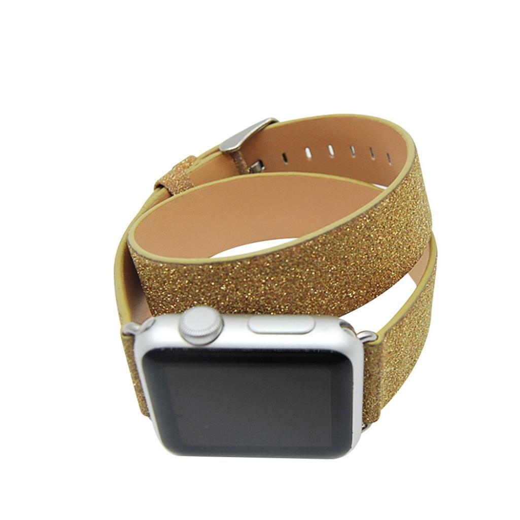 レザーストラップ、RTYOu ( TM )レザーバンドWatch Double Tourブレスレットバンドfor Apple Watchシリーズ1 / 2 42 mm ゴールド ゴールド B078NKYJXH