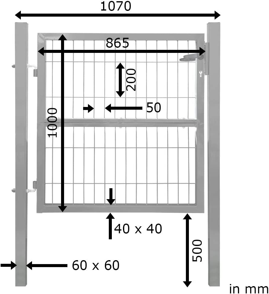 V2Aox Gartentor Gartent/ür Zaunt/ür Zauntor Gartenpforte Quadratrohr 100 cm Anthrazit Schloss