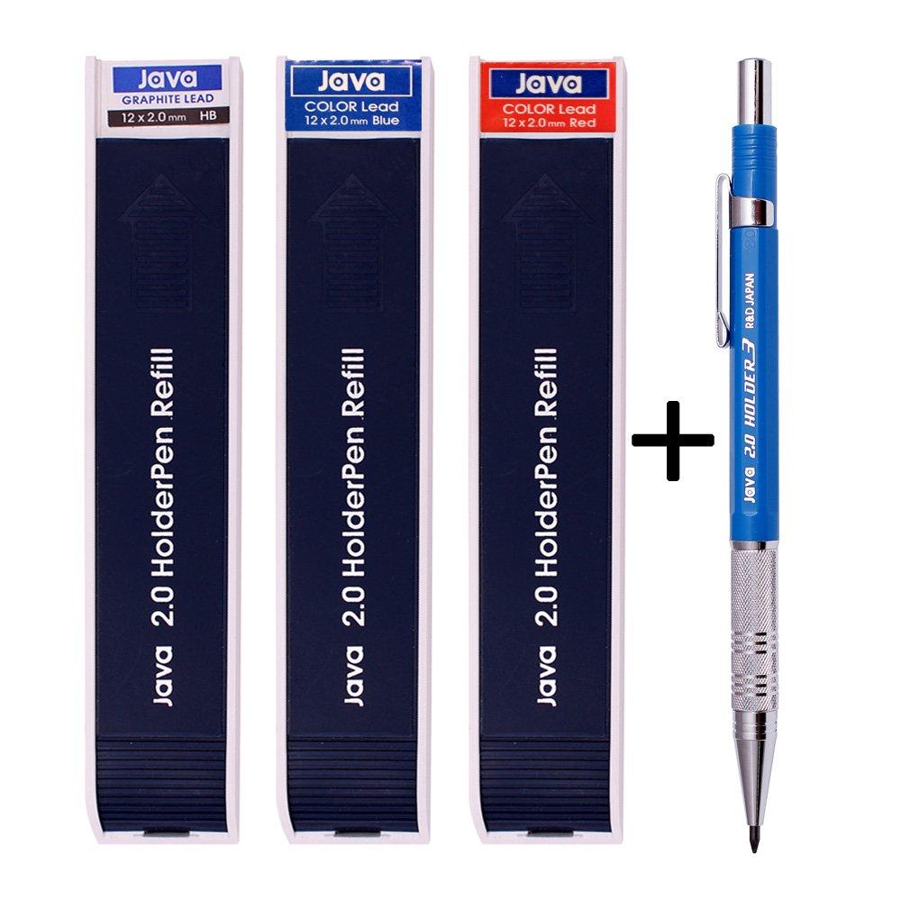 Java Pen 2.0 Mm Drafting Graphite Holder Pencil+Black/red/Blue Leads 3 Tube Set Sale by Javapen (Image #1)