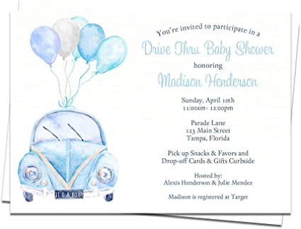 Amazon Com Drive By Baby Shower Invitation Parade Vw Invites Baby Boys It S A Boy Light Blue Bug Watercolor Social Distancing Customized Printed Cards 10 Count Health Personal Care