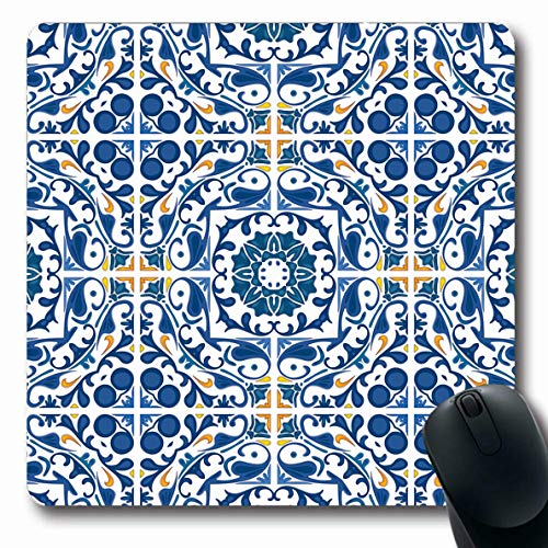 Ahawoso Mousepad for Computer Notebook Yellow Portuguese Blue Orange Like Tile Pattern Moroccan Spanish Mosaic Abstract Design Oblong Shape 7.9 x 9.5 Inches Non-Slip Gaming Mouse Pad