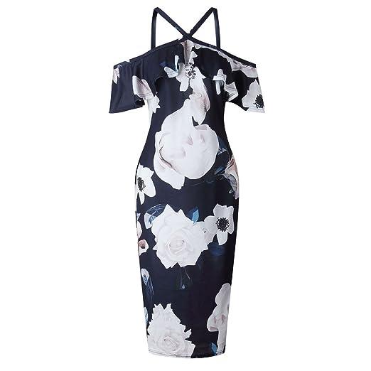bb1335e231e71 Amazon.com: WANQUIY Women's Party Dress 2019 New Women Printing Cross Short  Sleeve Off Shoulder Evening Party Dresses Sundress: Clothing