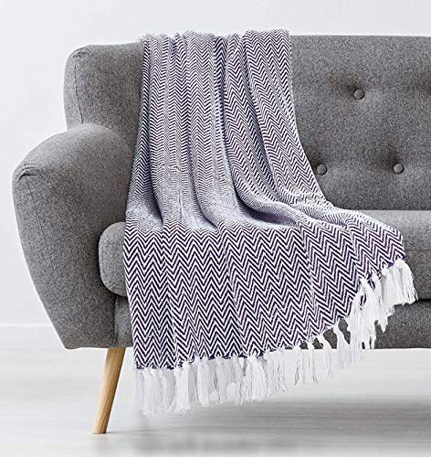 Americanflat Zaina Eggplant and White Herringbone Cotton Blanket Throw with Fringe - 50x60 Inches