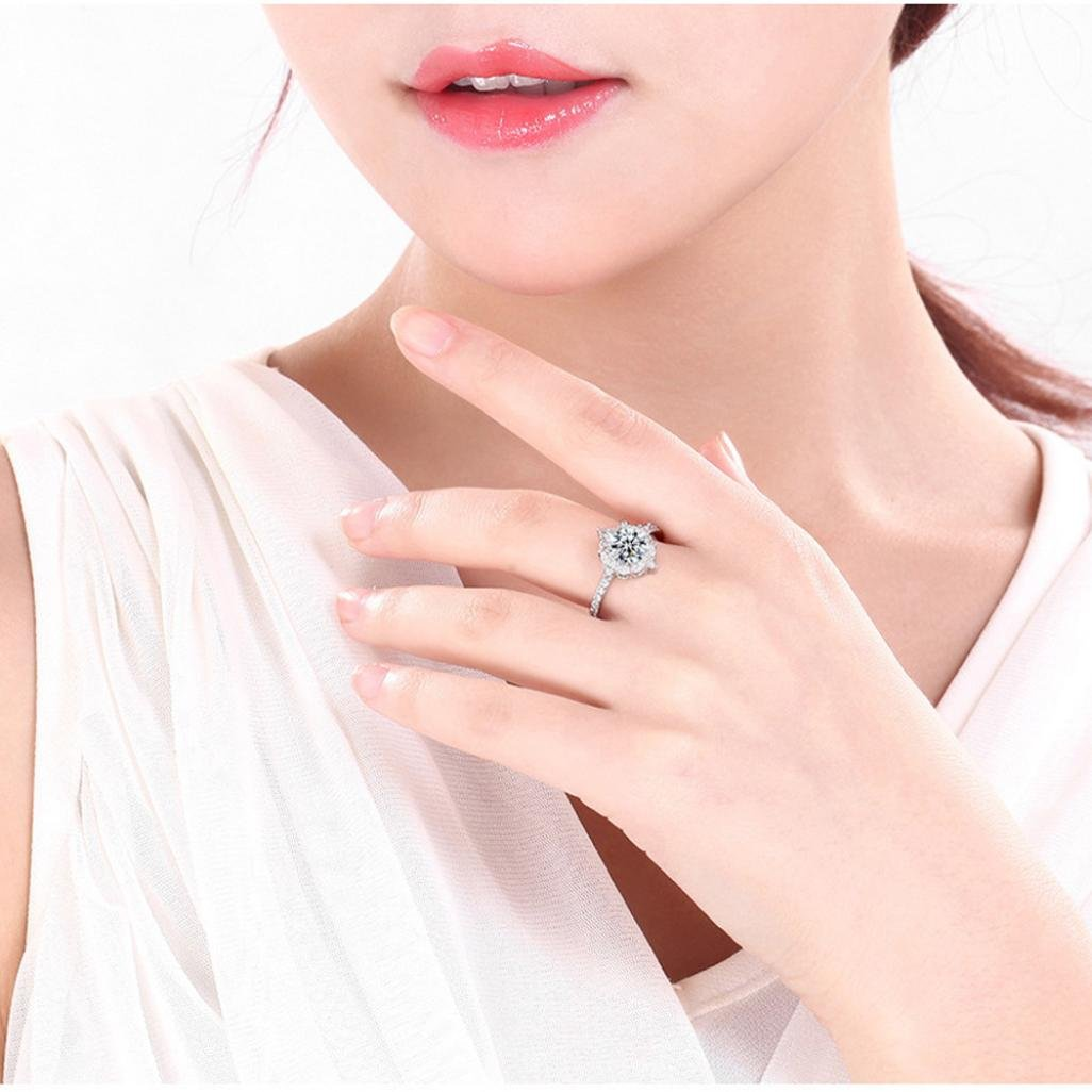 Amazon.com: 💕 Mysky Women Silver Rings Exquisite Gemstone White ...