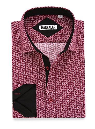 Markalar Mens Button Down Shirts Regular Fit Casual Print Dress Shirt