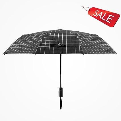 Sombrilla automática para hombres y mujeres paraguas doble paraguas reforzado de uso doble Black White (