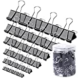 120 Pcs Binder Clips -  Paper Clamps Assorted 6 Sizes, Paper Binder Clips, Metal Fold Back Clips with Box for Office, School and Home Supplies, Black