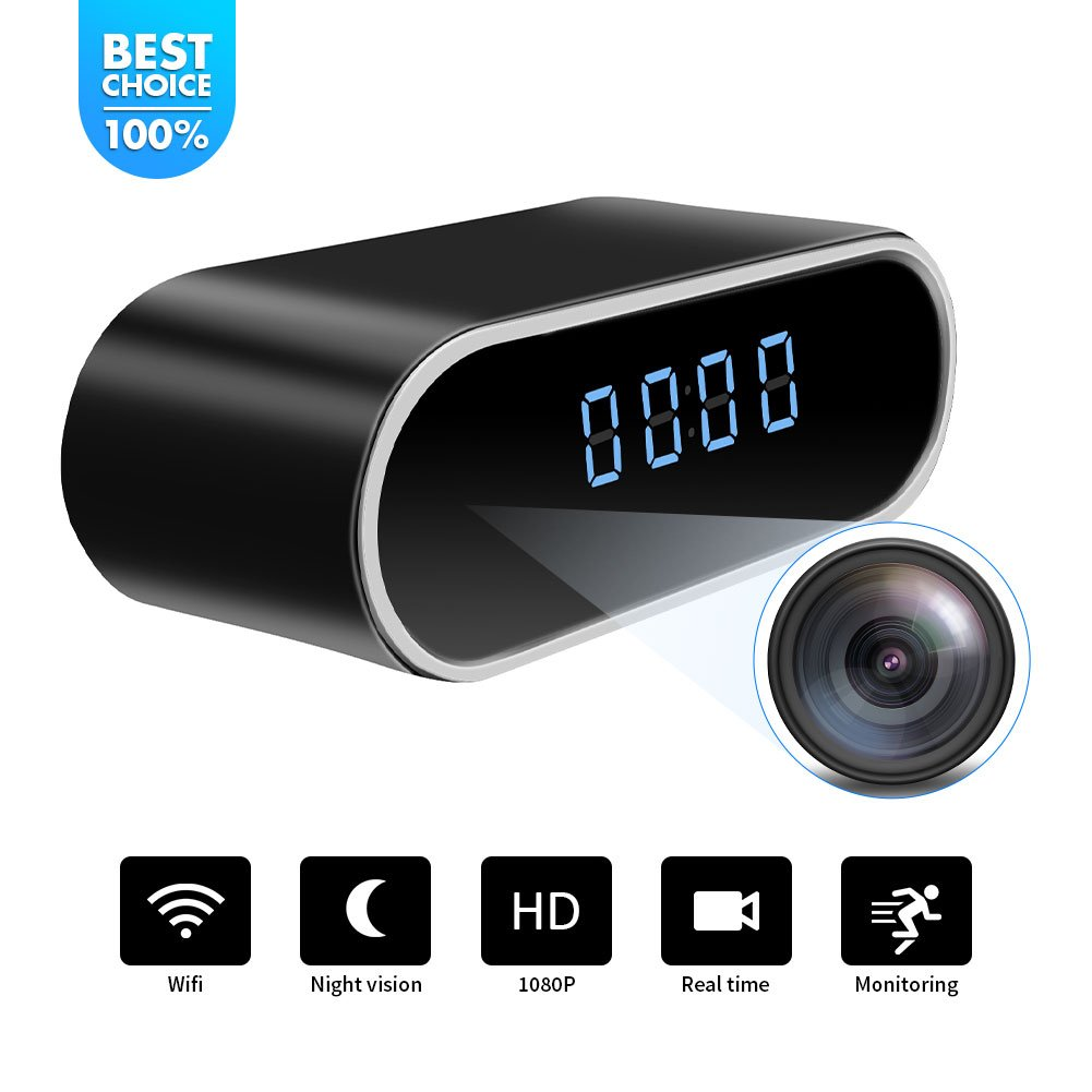 WiFi Hidden Spy Camera Clock |Full HD 1080P|Tiny Wireless Real-time Camcorder|150°Angle Night Vision Motion Detection|Indoor Home Security Monitoring|Baby&Pet Surveillance|USB Plug & Battery