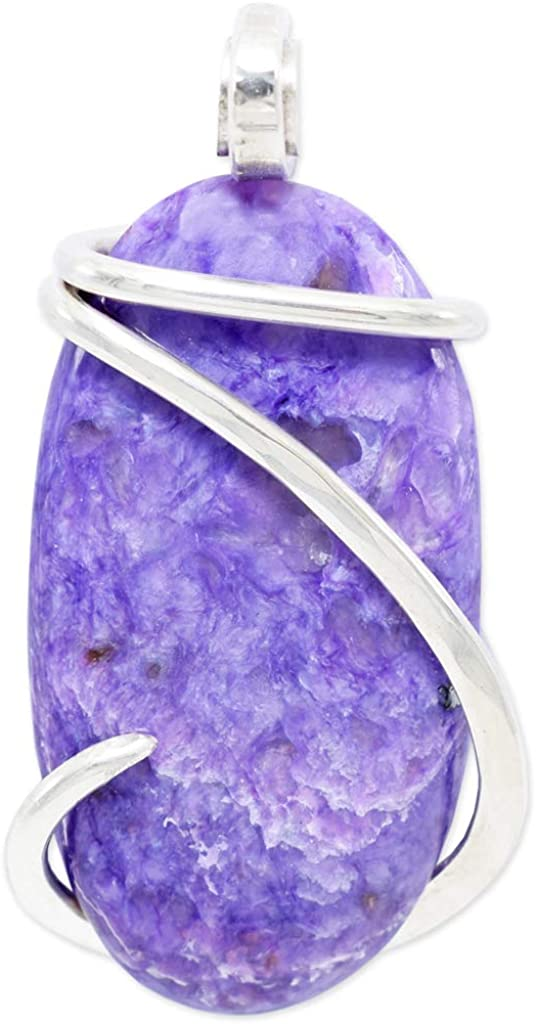 Charoite jewelry Healing stone Macrame necklace Pendant Crystal necklaces Romantic Bohemian Charoite Necklace gift idea for her