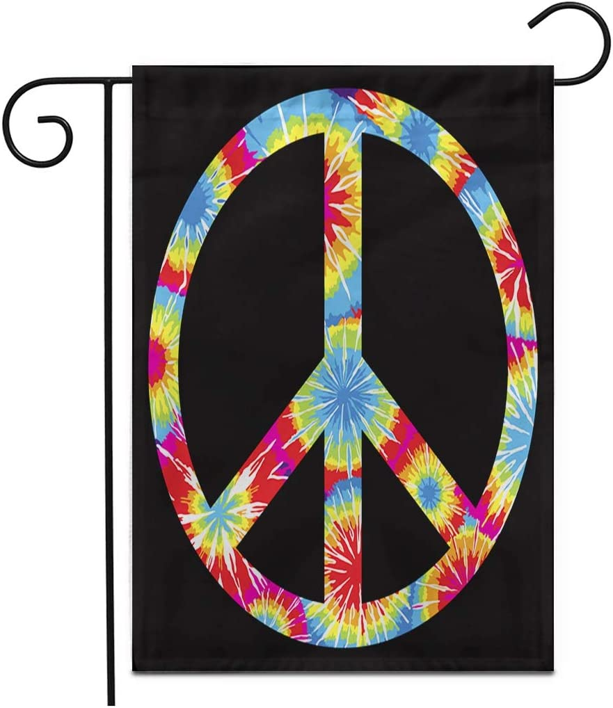 """Adowyee 28""""x 40"""" Garden Flag Colorful Dye Tie Dyed Peace Symbol Purple Sign Tye Outdoor Double Sided Decorative House Yard Flags"""